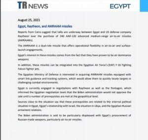 Egypt, Raytheon, and AMRAAM missiles